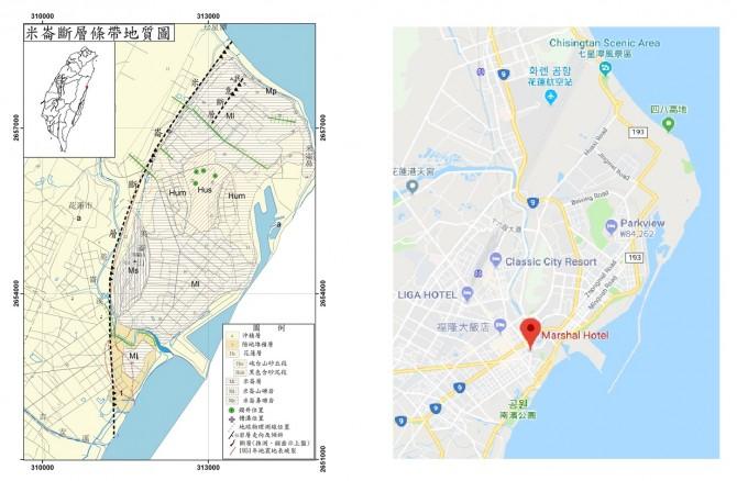 미룬단층 지질도(왼쪽)와 지진으로 무너진 마샬호텔(統帥大飯店) 위치(오른쪽)를 나타낸 지도. 미룬단층은 점선으로, 호텔 위치는 빨간 점으로 표시돼 있다. - 대만 경제부중앙지질조사소 및 Google 지도 제공